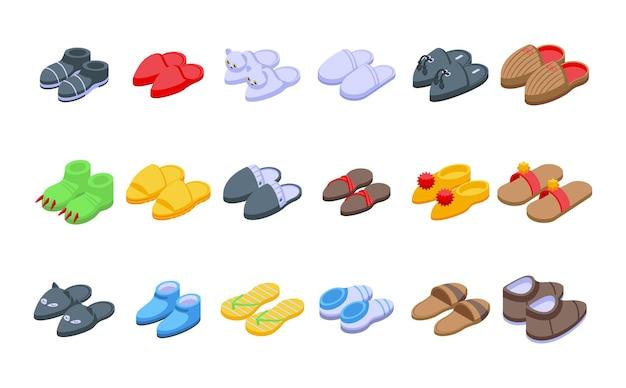 홈 슬리퍼 아이콘 아이소메트릭 벡터를 설정합니다. 발 액세서리. 옷의 편안함