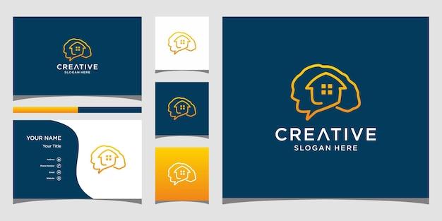 Домашний умный дизайн логотипа с шаблоном визитной карточки