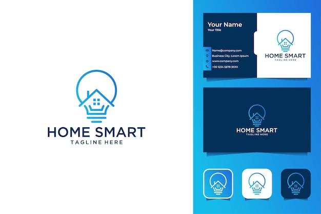 Home smart modern line art logo design and business card
