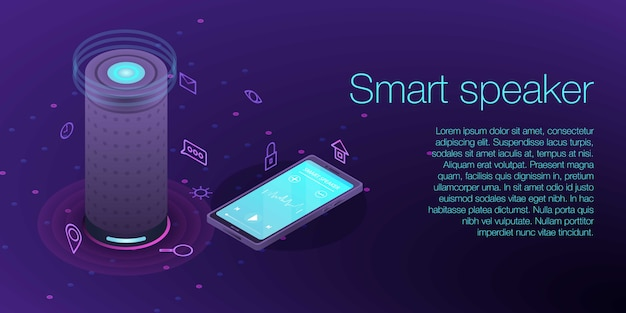 Home smart speaker concept banner, isometric style