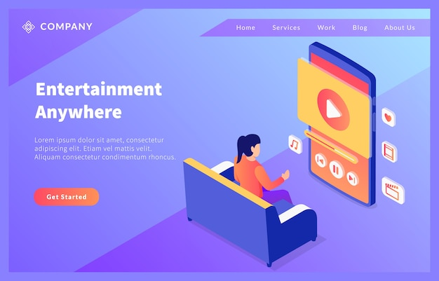 Home smartphone entertainment video for website template or landing homepage