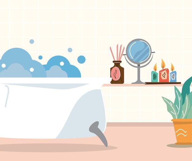 Home spa bathtub scene