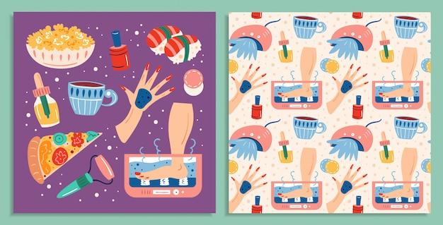 홈 스파의 밤. 미용 과정. 레크리에이션, 자기 관리, 휴식, 휴식 및 음식. 편평한 손으로 그려진 된 완벽 한 패턴 및 카드 세트