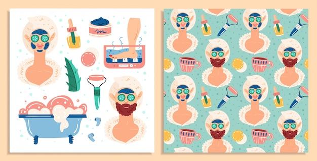 홈 스파의 밤. 여자와 남자. 뷰티 프로세스. 레크리에이션, 자기 관리 휴식 휴식. 편평한 손으로 그려진 된 완벽 한 패턴 및 카드 세트