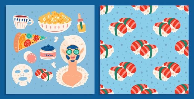 홈 스파의 밤. 젊은 여성. 미용 과정. 행복한 기분, 미소 피부 모발 건강 관리. 음식, 피자, 초밥. 편평한 손으로 그린 그림 카드와 원활한 패턴