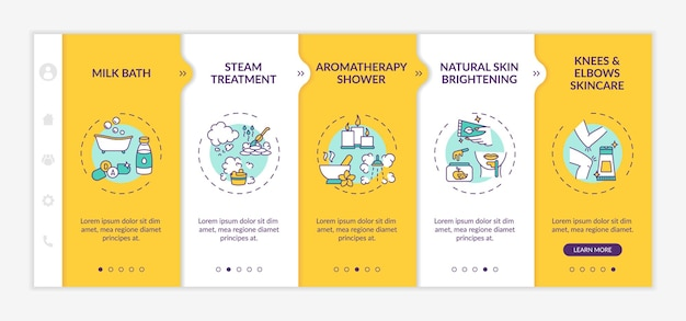 At-home spa routine onboarding  template. milk bath. aromatherapy shower. knees skincare. responsive mobile website with icons. webpage walkthrough step screens. rgb color concept