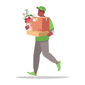 Home special delivery semi flat rgb color illustration
