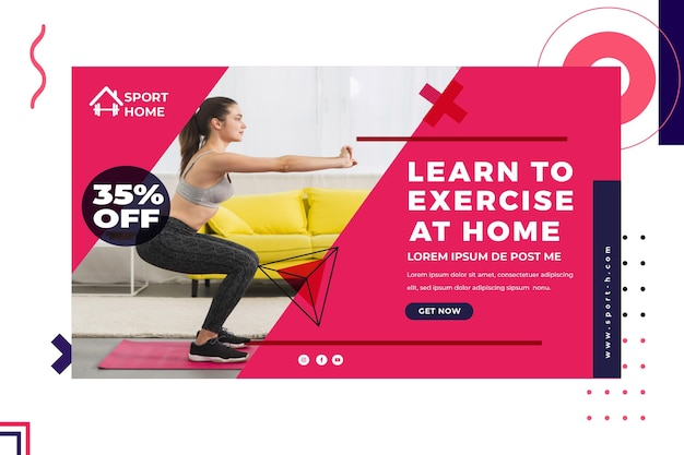 Home sport horizontal banner template with photo