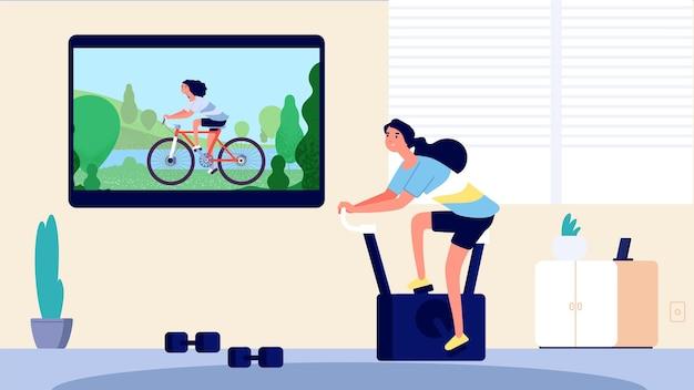 홈 스포츠. 거실에서 훈련하는 여자. tv에서 자전거 타기, 운동 용 자전거 소녀