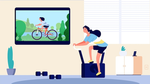 Home sport. woman training in living room. cycling on tv, girl on exercise bike