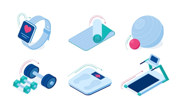 Home sport workout equipment and gadgets isometric vector icons.