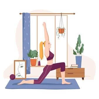 Домашние виды спорта и тренировки женщина делает вектор йоги