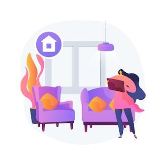 ホームステージング抽象的な概念ベクトルイラスト。ホームステージャー、ステージング会社の雇用、販売用の個人住宅の準備、不動産の魅力の向上、不動産ビジネスの抽象的な比喩。