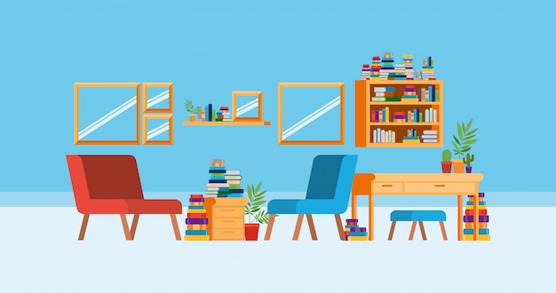 Home study room with books