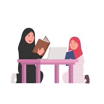 Home studying arabian mother teach daughter