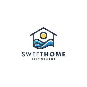 Home sunset logo template vector icon logotype