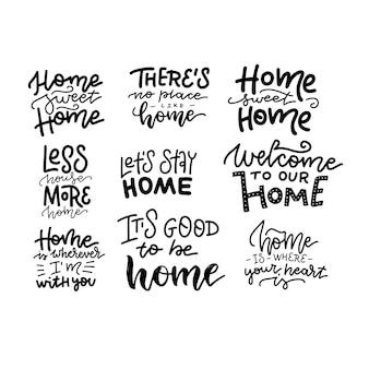 홈 스위트 홈 아름다운 손으로 그린 글자 모음. 집 로고 및 라벨 디자인 요소 집합입니다. 선형 타이포그래피.