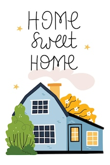 Home sweet home blue house on a beautiful lawn a yellow tree blooms beautifully cozy atmosphere autumn mood Premium Vector