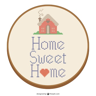 Home sweet home cross-stitch design