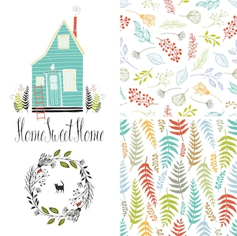Home sweet home, floral fern patterns and round frame