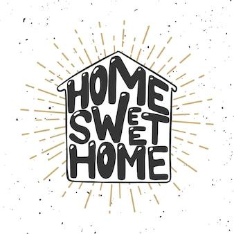 집이 좋아. 손으로 그린 글자는 흰색 바탕에. 포스터, 카드, 요소. 삽화