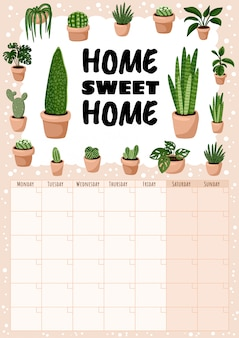 Home sweet home, hygge monthly calendar with succulents plants elements.