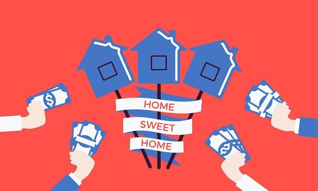 キャンディーハウスでのホームスイートホームフレーズ。スティック上のハードシュガーロリポップ、それを購入したいお金を持った手、不動産不動産の夢、住宅ローン市場のアイデアと所有権のポスター。ベクトルイラスト