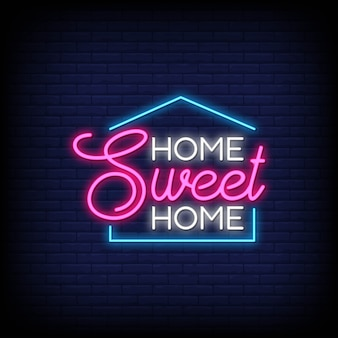 Home sweet home for poster in neon style