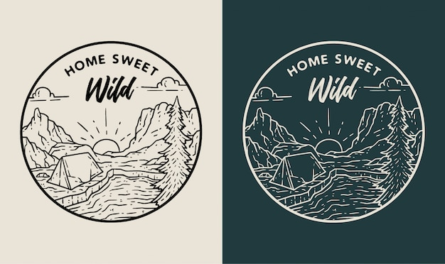Home sweet wild monoline badge