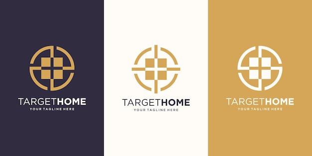 홈 대상 로고 디자인 템플릿입니다. 대상 기호와 결합 된 기호 집입니다.