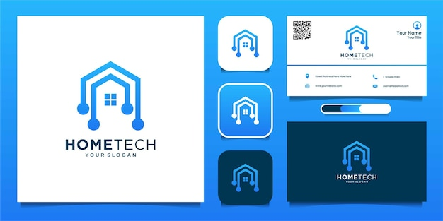 Home tech with line art style logo and business card  premium vector