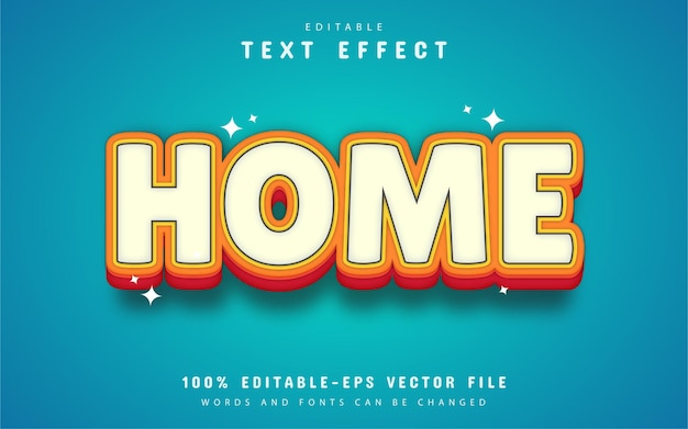 Home text effect cartoon style