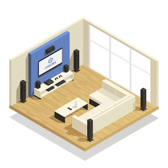 Home theater isometric composition