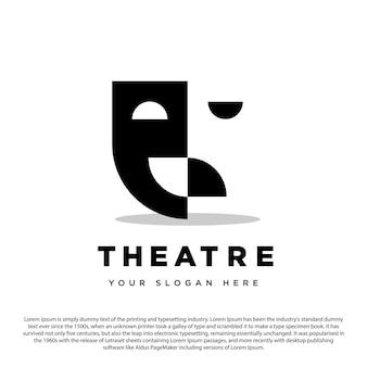 Домашний кинотеатр креативный дизайн логотипа театр и дом драма дизайн логотипа вектор шаблон