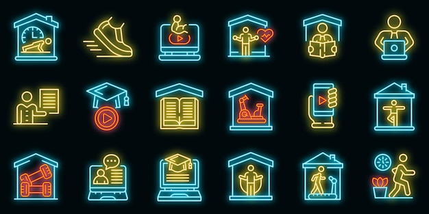 Home training icons set. outline set of home training vector icons neon color on black