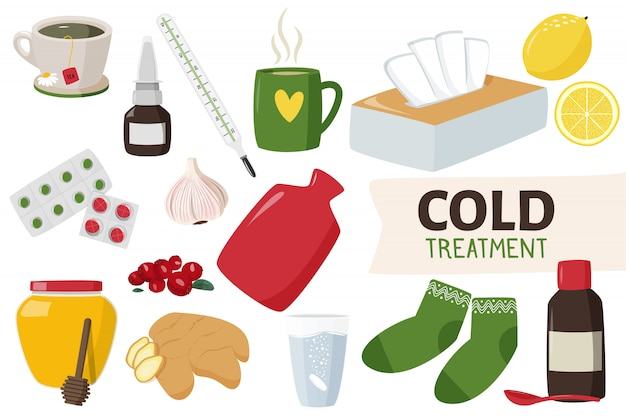 Home treatment and medicines for cold.