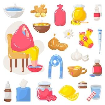Home treatment remedies in flu season set.