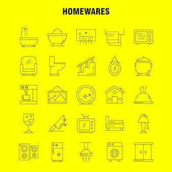 Home wares line icons set: appliances, home, home ware, house, pan, bathroom, furniture