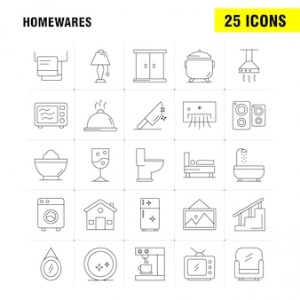 Home wares line icons set for infographics, mobile ux/ui kit