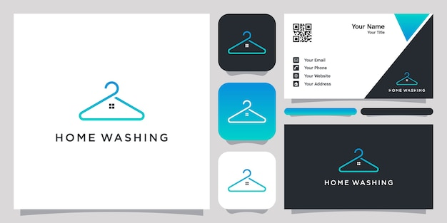 Home washing logo with line art design and business card