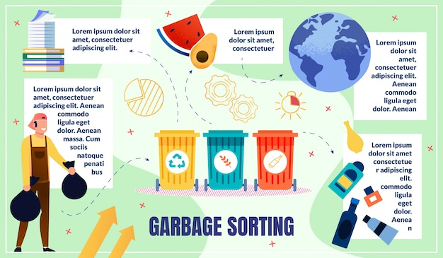 Home waste sorting infographics template