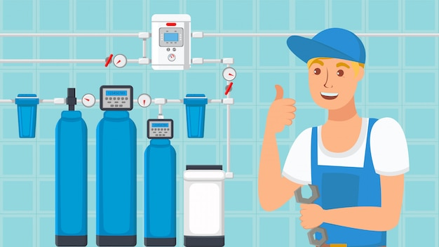 Home water filters installation flat illustration Premium Vector
