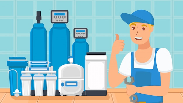 Home water filtration system flat illustration