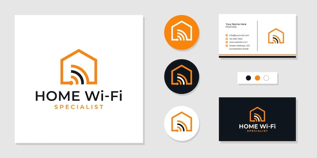 Home wi-fi service, smart home logo and business card design template