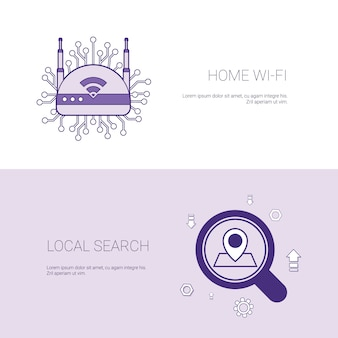 Home wifi and local search concept template web banner