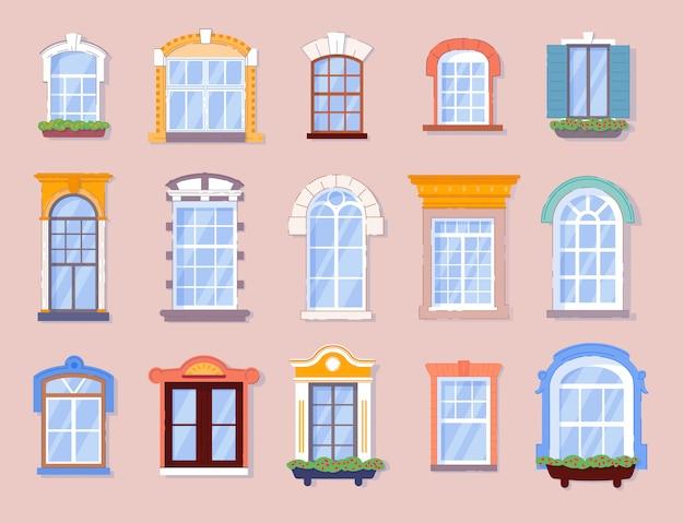 ホームウィンドウ。家または家のアパートのさまざまな閉じたガラスウィンドウフレームシルエット。外から観音開きの不動産壁工事。