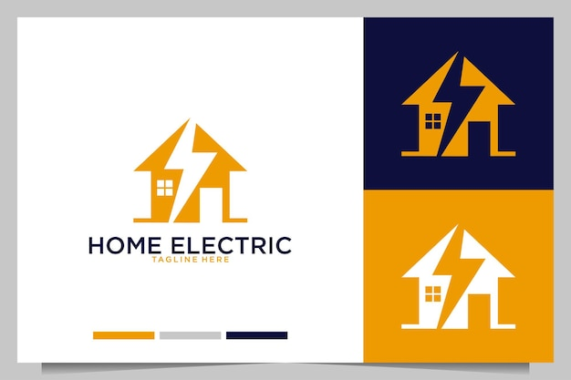 Home with electric modern logo design