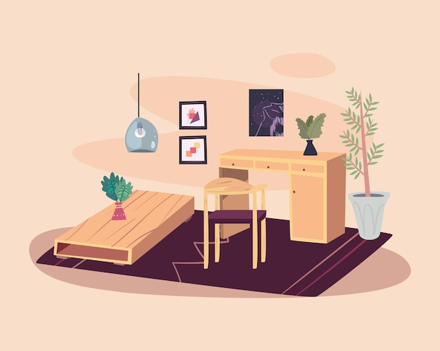 Home wood table and desk in living room