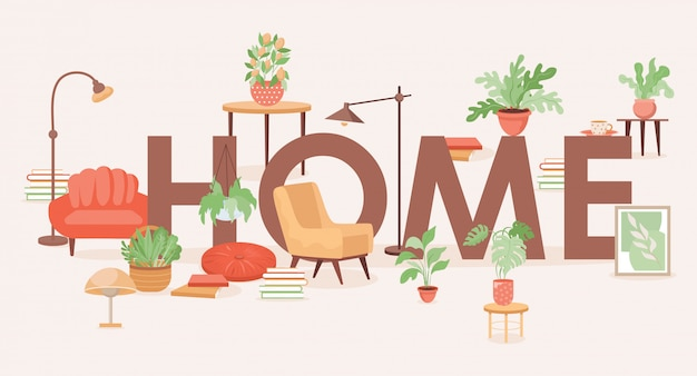 Дизайн баннера домашнего слова. мебель для дома и предметы быта плоской иллюстрации.