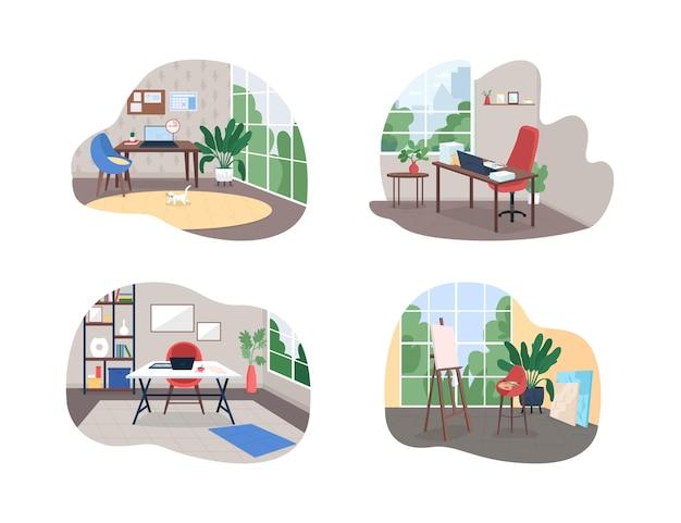 Домашняя рабочая студия 2d веб-баннер набор плакатов